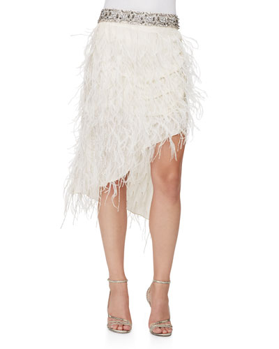 Asymmetric Beaded Feather Skirt, Antique Ivoire