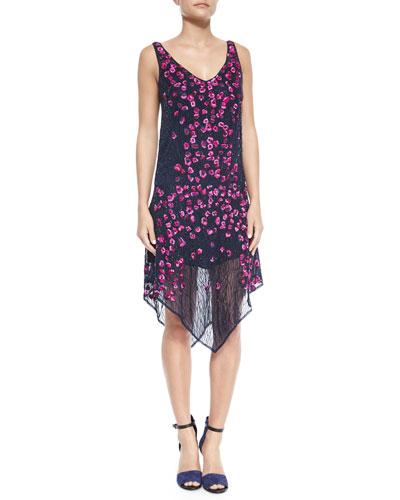 Floral-Embellished Sleeveless Dress, Midnight