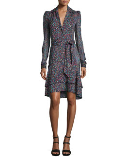 Tweed-Print Tie-Waist Long-Sleeve Dress