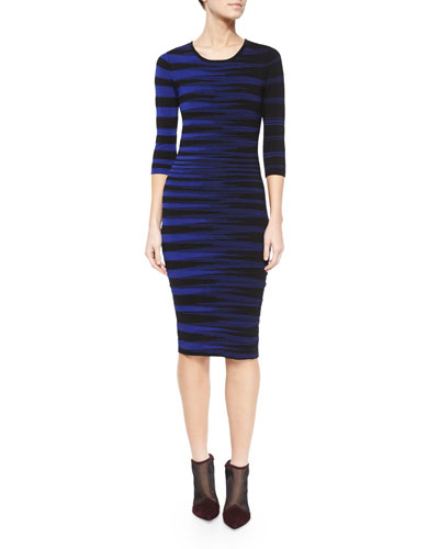 Blurred-Stripe Jacquard Sheath Dress