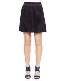 Pleated Metallic Knit Miniskirt