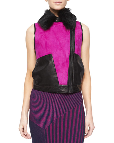 Fur-Collar Colorblock Suede/Leather Vest