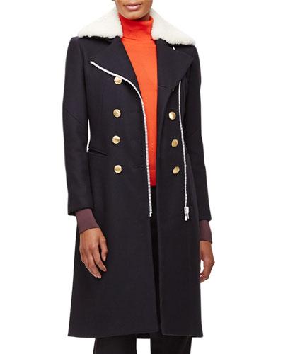 Sullivan Double-Breasted Coat w/Shearling Collar