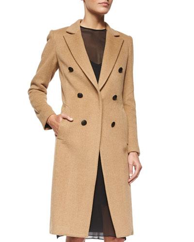 Faye Camel-Hair Button Coat