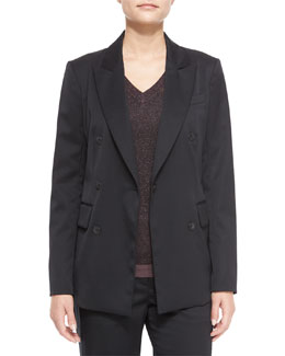 Scroll Blazer with Buttons, Black