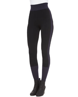 Kristin Colorblock Knit Leggings, Black