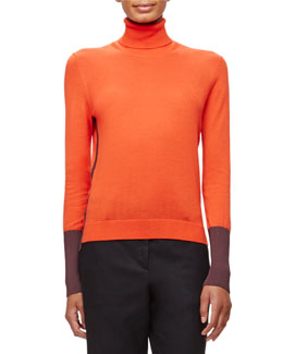 Jessica Colorblock Knit Turtleneck Top