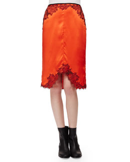 Izabella Lace-Trim Silk Skirt, Spicy Orange