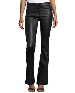 Vivia Flared Leather Pants, Black