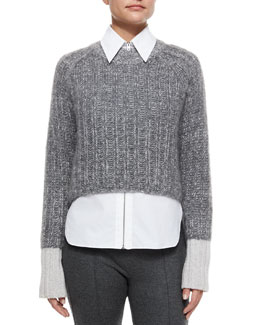 Makenna Cropped Knit Sweater, Light Gray