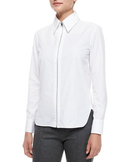 Frances Zip-Front Shirt, White