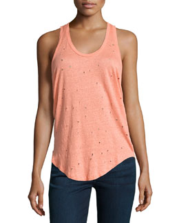 Doris Distressed Linen Racerback Tank