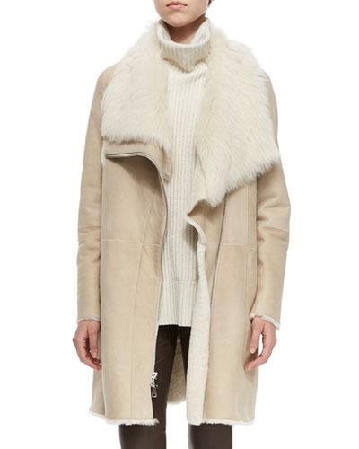 Asymmetric Shearling Fur Coat, Creme