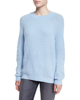 Directional Ribbed Crewneck Sweater, Chambray