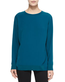 Rib-Trim Knit Top with Back Pleat