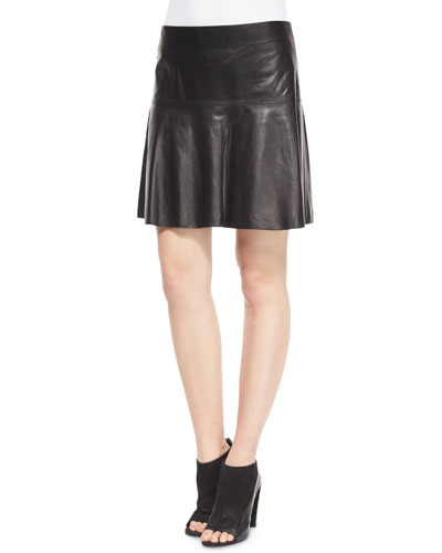 Pleated Leather Skirt, Black