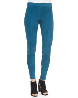 Stretch-Suede Zipper-Cuff Leggings