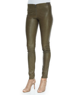 Lamb Leather Front-Zip Leggings, Forest Green
