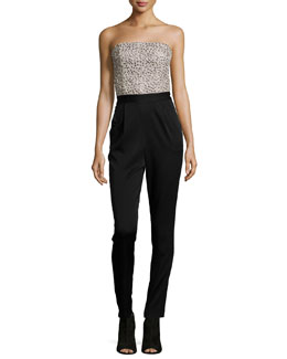 Jeri Beaded Strapless Jumpsuit, Black/Cream