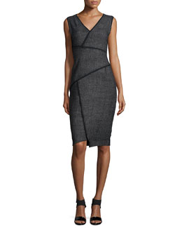 Angela Sleeveless Sheath Dress W/Contrast Seams, Black
