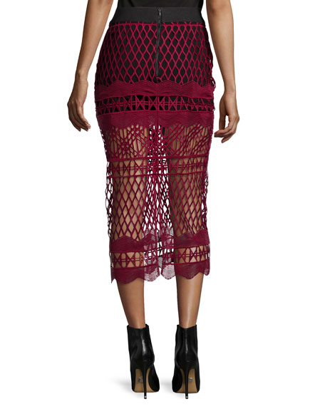 Cutwork-Lace Pencil Skirt, Burgundy