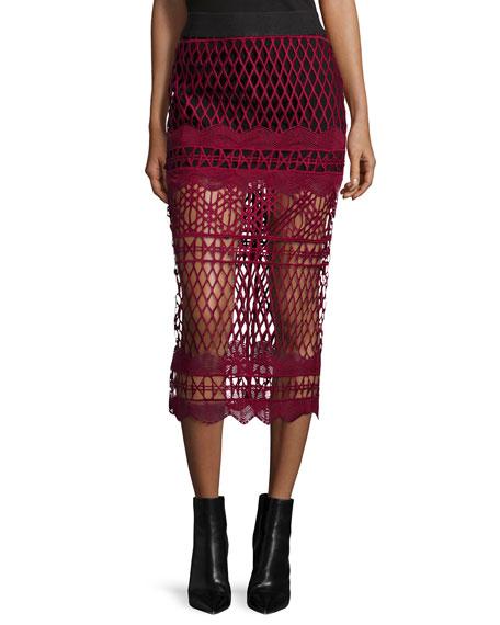 Cutwork-Lace Pencil Skirt, Burgundy