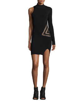 One-Sleeve Mesh-Trim Dress, Black