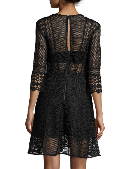 3/4-Sleeve Guipure-Lace A-Line Dress, Black