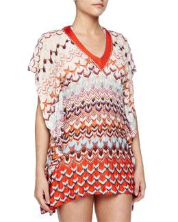 Pointelle Wavy-Knit Caftan, Orange Multi