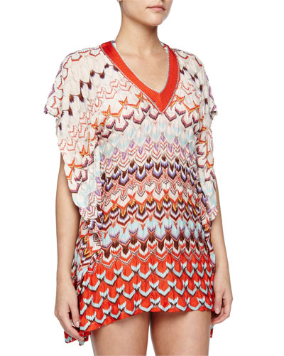 Pointelle Wavy-Knit Caftan, Orange Multi