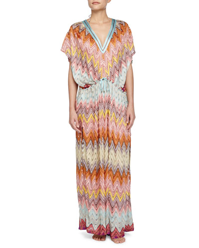 Zigzag-Print Long Caftan, Multi