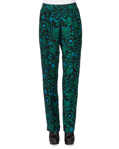 Shadow Flower Tapered-Leg Pants, Bottle Green