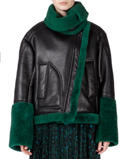 Oversized Jacket w/ Contrasting Fur Trim, Bottle Green