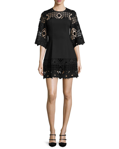Rae Crochet-Trim Ponte Mini Dress, Black