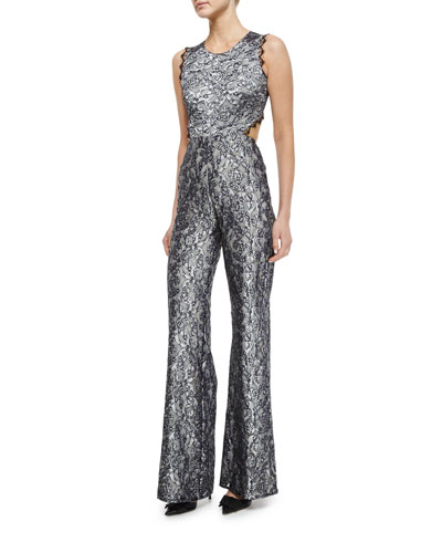 Sleeveless Floral Lace Jumpsuit, Silver