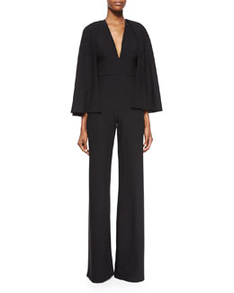 Amadeo Jumpsuit w/ Cape, Black