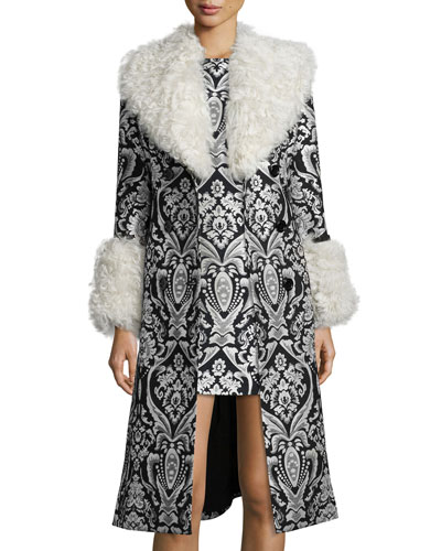 Winona Damask Fur-Trim Trenchcoat, Black/White