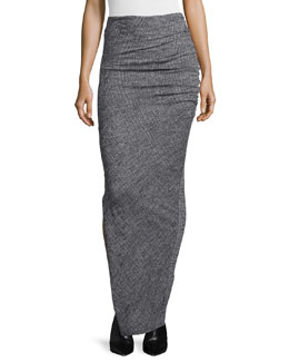 Octavia Ruched Wool Maxi Skirt, Gray