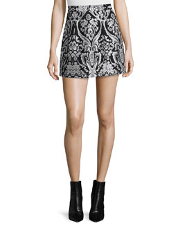 Loran Structured Floral Lantern Skirt, Black/White