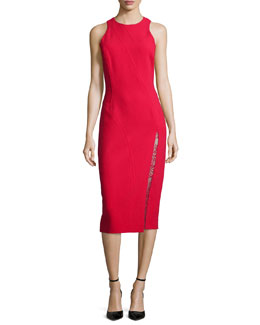 Sheath Dress with Lace Inset, Scarlet