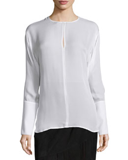 Long-Sleeve Silk Keyhole Blouse, Cream