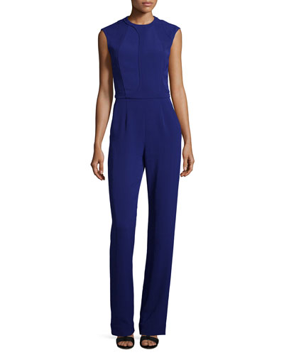 Seamed Cap-Sleeve Jumpsuit, Prussian