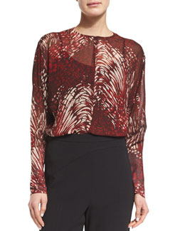 Silk Long-Sleeve Keyhole Blouse, Red