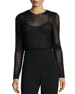 Sheer Knit Striped Top, Black