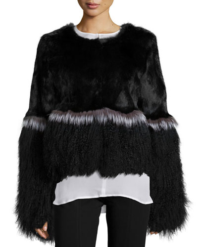 Mixed Fur Long-Sleeve Jacket, Black
