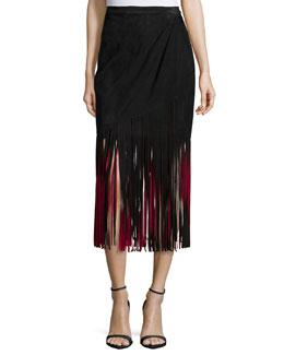 Signature Fringe Skirt, Black/Red