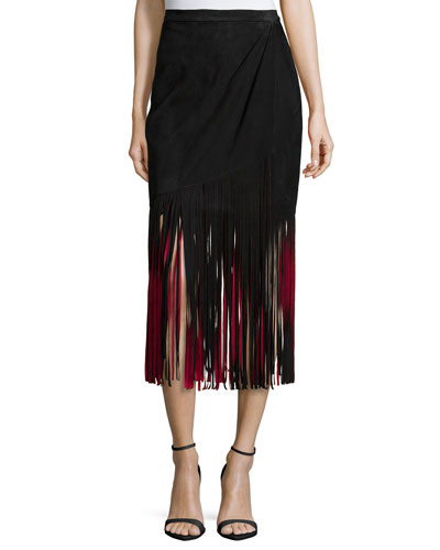 Signature Fringe Skirt, Black/Red