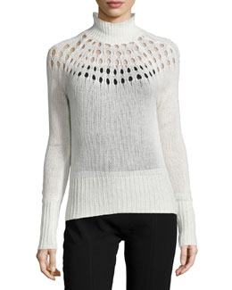 Pointelle Merino Turtleneck Sweater, Cream