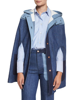 Patchwork Denim Cape, Blue