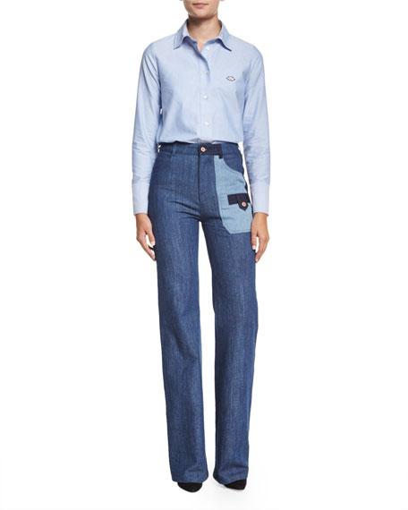Patchwork Denim Flare Jeans